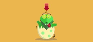 Illustration: Krokodil schlüpft aus Ei (Downloadsymbol über dem Kopf)