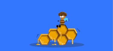 Illustration: Biene auf Honigwaben