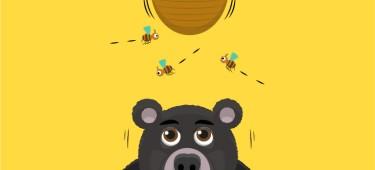 Illustration: Bär unter einem Bienenstock