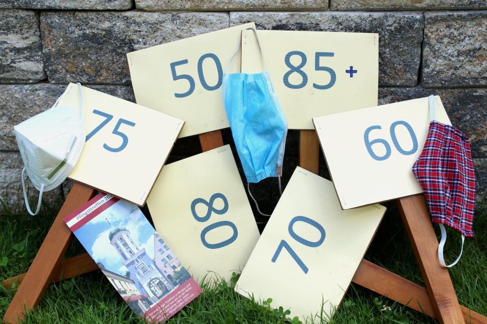 Pfingsttreffen Burgau Schilder der Jahrgänge Mund-Nasen-Bedeckung