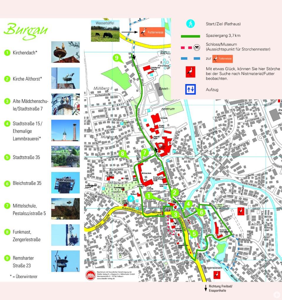 Stadtkarte bezüglich des Storchenspaziergangs Burgau