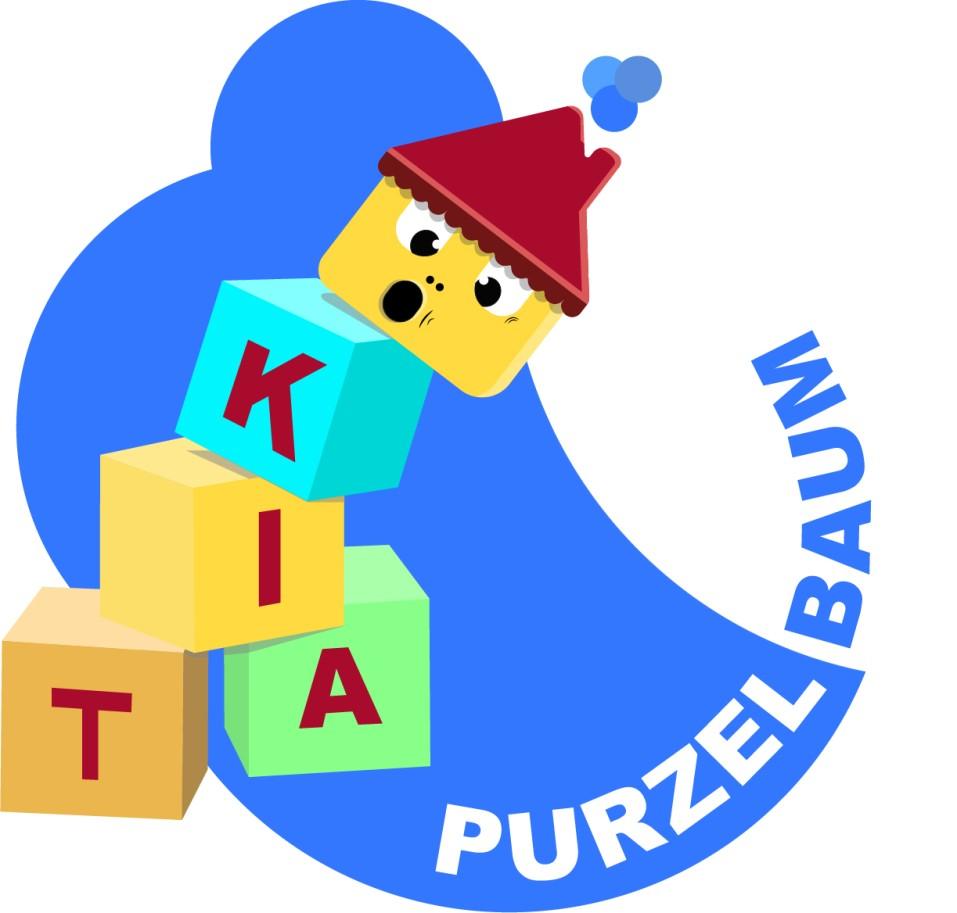 Logo der Kita Purzelbaum (Illustration): Die Kita-Purzelbaum, purzelt von einem Bauklötzchenstapel